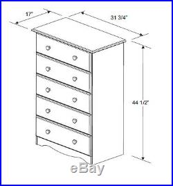 100% Solid Wood 5-Drawer Chest by Palace Imports, 32W x 44.5H x 17D, 3 Colors