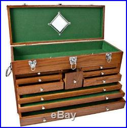 10 Drawer Oak Machinist Wooden Wood Tool Chest Box