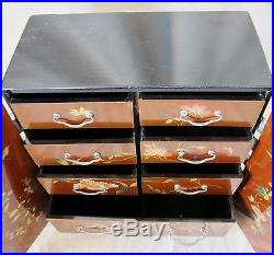 14 Antique Japanese Mini Wood Chest Cabinet with Drawers Painted Black & Gold