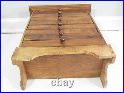 16 1/4 Vtg Carved Wood Chest Drawers Spice Apothecary Box
