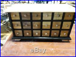 18 Drawer Apothecary, Spice Chest Black with Natural Top and Drawers