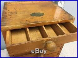1900s Antique Machinist Wood Tool Box 6 Drawer Chest Wirt Resistors Philadelphia