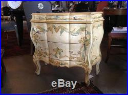 1950s Italian Faux Distressed Bombay Chest of Three Drawers Hand Painted Floral