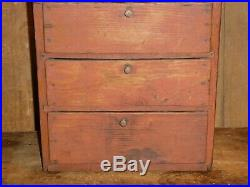 19th C EARLY PRIMITIVE 5 DRAWER CHEST OLD ORIGINAL RED WASH PAINT RARE FORM aafa