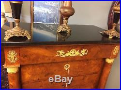 19th Century French empire Lingerie Chest 7 Drawer Burl Wood Marble Top