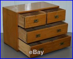 1 Of 2 Vintage 1950's Solid Light Mahogany Military Campaign Chest Of Drawers