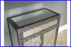 2 Door 1 Drawer Mirrored Storage Cabinet Vintage Silver Chest Embossed Cupboard