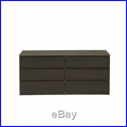 2 Piece Set with 6 Drawer Double Dresser and 5 Drawer Chest in Coffee