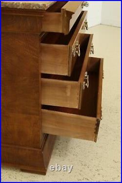 31877EC HENREDON Charles X Marble Top Burled Elm 4 Drawer Chest Dresser