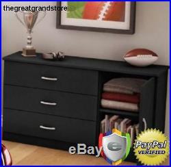 3 DRAWER DRESSER Chest Black Cabinet Modern Storage BEDROOM FURNITURE Organizer