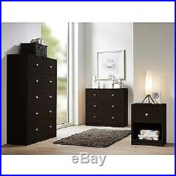 3 Drawer Chest Dresser Three Drawers Espresso Finish Wooden Bedroom Furniture