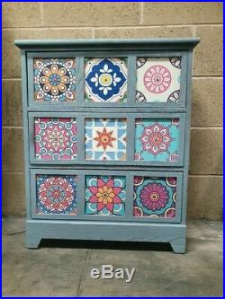 3 Drawer Mosaic Chest of Drawers Blue/ Pattern 59cm x 75 x 30 Hand Painted