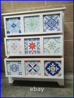 3 Drawer Mosaic Chest of Drawers White Pattern 59cm x 75 x 30 Hand Painted