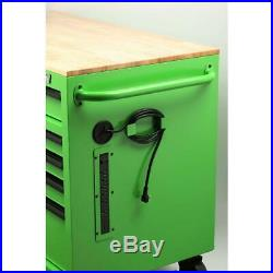 46 in. W x 24.5 in. D 9-Drawer Tool Chest Mobile Workbench with Solid Wood Top
