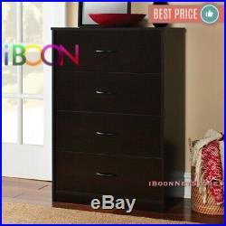 4 DRAWER DRESSER CHEST Of Drawer Espresso Oak Color Storage Wood Clothes Cabinet