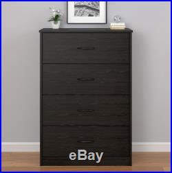 4 Drawer Bedroom Dresser Clothes Storage Chest Organizer Furniture Black Oak New