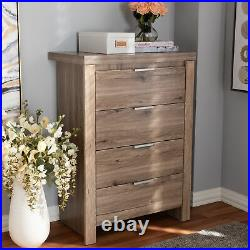4-Drawer Cabinet Dresser Chest Storage Clothes Rustic Farmhouse Shabby Chic Wood