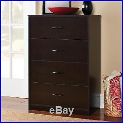 4 Drawer Chest Dresser Bedroom Storage Cabinet Wood Furniture Clothes Organizer