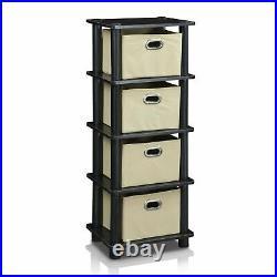 4 Drawer Dresser Bedroom Storage Bins Furniture Chest Hamper Sturdy Bin Rack