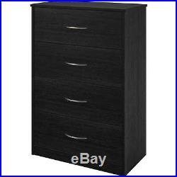 4 Drawer Dresser Chest Bedroom Furniture Storage Wood Drawers Black Ebony
