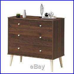 4-Drawer Dresser Chest Cabinet Storage Organizer Rubber Leg WithRail Walnut Finish
