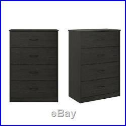 4-Drawer Dresser Chest Clothes Drawer Storage Wood Bedroom Cabinet Black Oak
