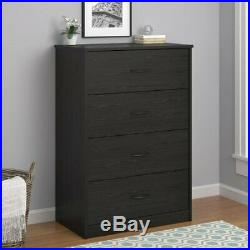4-Drawer Dresser Chest Clothes Storage Modern Bedroom Cabinet Wood Black