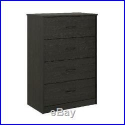 4-Drawer Dresser Chest Clothes Storage Modern Bedroom Cabinet Wood Black Oak