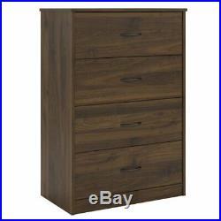 4-Drawer Dresser Chest Clothes Storage Modern Bedroom Cabinet Wood Walnut