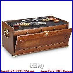4 Drawer Gun Collectors Cabinet Wood Pistol Chest Lockable Tool Box Trunk Rustic