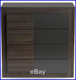 4 High Drawer Dresser Bedroom Night Stand Chest Storage Home Wardrobe Wood Brown