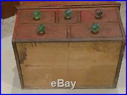 5 Drawer Antique Spice Cabinet Lift Lid Box Cupboard Apothecary Chest AAFA