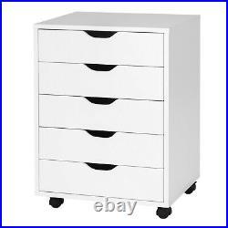 5 Drawer Chest Storage Dresser Floor Cabinet Organizer with Wheels White