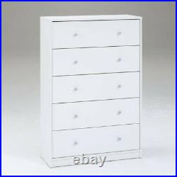 5 Drawer Chest and 3 Drawer Chest Set for Bedroom in White