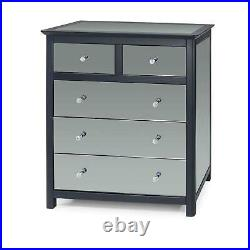 5 Drawer Dark Carbon Finish Chest of Drawers Mirrored Panels Bedroom Furniture