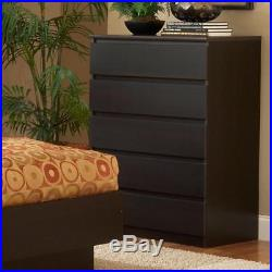 5 Drawer Dresser Chest Bedroom Furniture Clothes Storage Wood Drawers Black