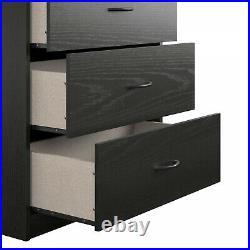 5-Drawer Dresser Chest Clothes Storage Modern Bedroom Cabinet Wood Black