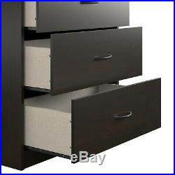 5-Drawer Dresser Chest Clothes Storage Modern Bedroom Cabinet Wood Espresso