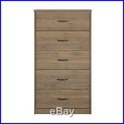 5-Drawer Dresser Chest Clothes Storage Modern Bedroom Cabinet Wood Rustic Oak