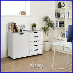 5-Drawer Dresser Chest Mobile Storage Cabinet withDoor, Printer Stand Home Office