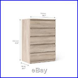 5 Drawer Dresser Chest Of Drawers Truffle Color Wooden Modern Style Storage NEW