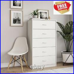 5 Drawer Dresser Closet Tall Chest Clothes Storage Modern Bedroom Cabinet, White