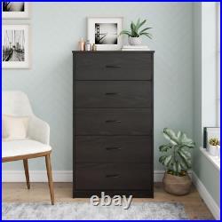 5 Drawer Dresser Closet Tall Chest Clothes Storage Modern Bedroom Cabinet Wood
