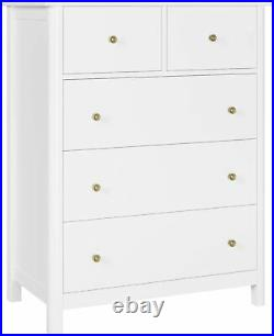5 Drawer Dresser White Chest of Drawers Bedroom Nightstand Wood Frame Antique
