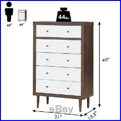 5 Drawer Dresser Wood Chest of Drawers Storage Freestanding Cabinet Home