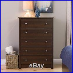 5 Drawer Wood Chest of Drawers Bed Room Furniture in Espresso Finish