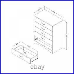 5-Drawer Wooden Dresser Chest Drawers Clothes Storage Bedroom Furniture White