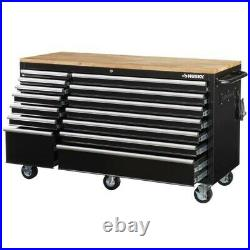 62 in W 14-Drawer, Deep Tool Chest Mobile Workbench in Gloss Black with wood top