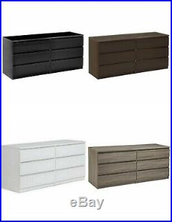 6 DRAWER DRESSER Bedroom Furniture Storage Wood Double Chest Multiple Finishes
