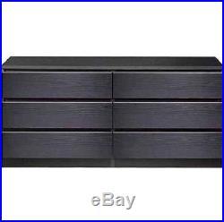6 DRAWER DRESSER CHEST Wood Storage Organizer Black Bedroom
